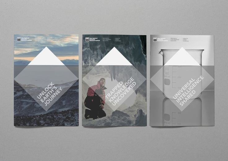Logo and brochure designed by BRR for New Zealand Antarctic Research Institute.