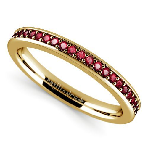 Pave Ruby Gemstone Ring in Yellow Gold | Image 01