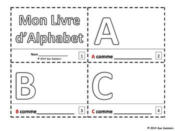 French Alphabet Sketch and Color Booklet - Mon Livre d'Alphabet by Sue Summers