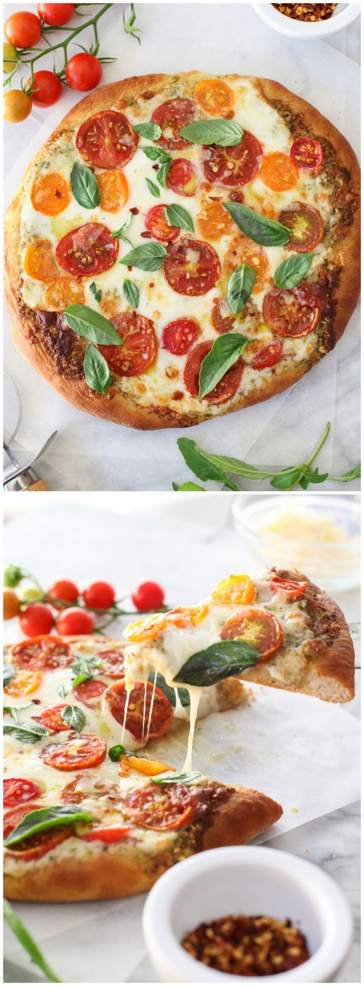 Pesto Pizza with Fresh Tomatoes and Mozzarella #recipe and how to make perfect pizza at home