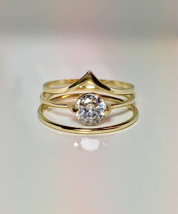 Sale 3pc Set 14k 10k Gold Ladies Wedding Promise Ring Gold Pinky Ring Thin Gold Rings Chevro Gold Promise Rings Thin Gold Rings