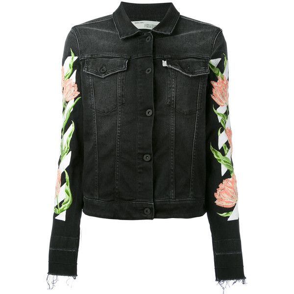 Off-White rose embroidered denim jacket (104.995 RUB) ❤ liked on Polyvore featuring outerwear, jackets, black, embroidered jean jacket, embroidery jackets, embroidered jackets, jean jacket and long sleeve jean jacket