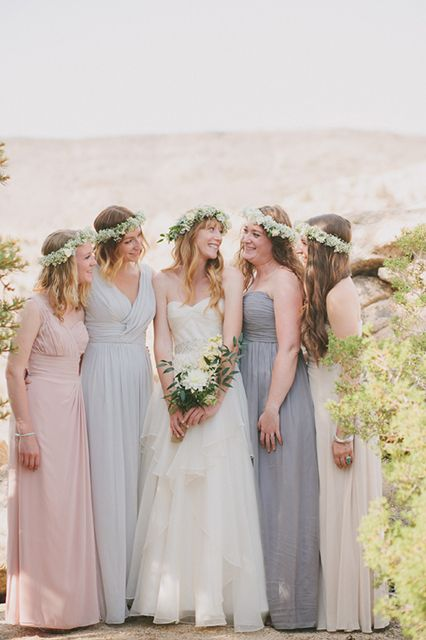 neutral bridesmaids + flower crowns