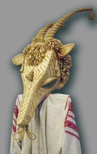 Belarusianstraw goat mask for Yule celebration and wassailing