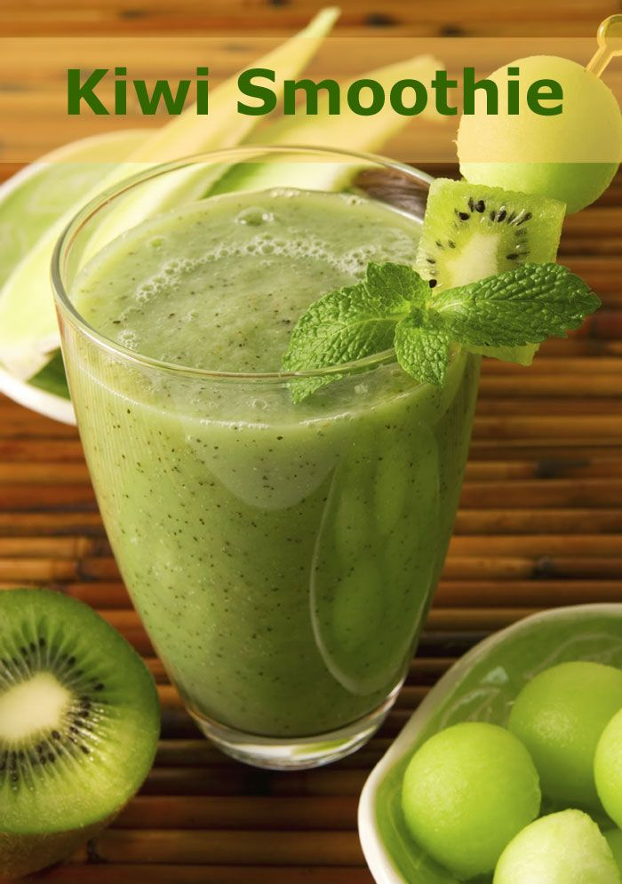 Invigorating Kiwi SmoothieThis smoothie is packed with vitamin C and other feel-good vitamins and minerals. 5 kiwi, 1 cup honeydew melon, juice of 1 lime & 3-4 sprigs of mint leaves