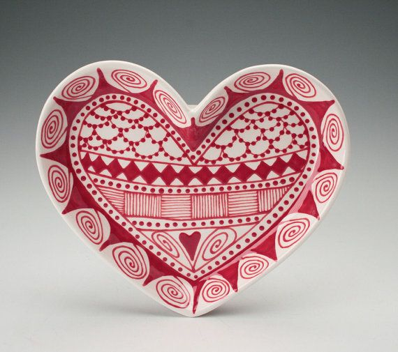 Red And White Patterned Heart Plate