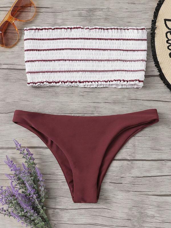 9bd0cf736e8f Bandeau fruncido de rayas con set de bikini de cintura baja | Ropa ...