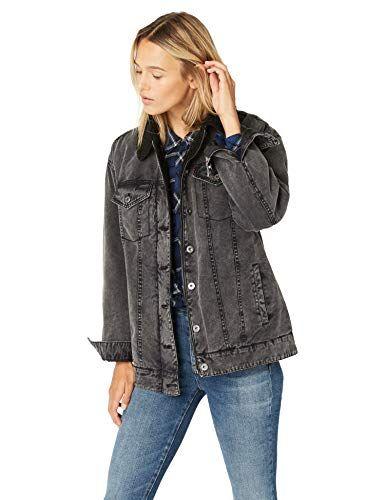 89.99 Levi s Women s Oversized Acid Washed Cotton Sherpa Trucker Jacket, Levis  Jacket ee862e69a62c