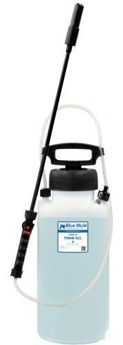 Blue Mule Pump-Up Foam-All 3 Gallon by Blue Mule Professional Cleaning Systems. $86.73. High density 3 gallon polyethylene tank with UV inhibitor. Viton seals (for maximum chemical resistance) and O-ring pressure relief valve. Made in the USA. Includes: Webbed nylon carrying strap, 4ft discharge hose, trigger assembly. Adjustable patten foam nozzle. The 3 Gallon Pump-Up Foam-All is a portable foam applicator for applying pre-diluted, foaming chemicals to any surfac...