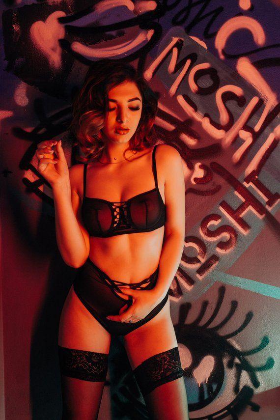 c42bd5ff46099 See Through Lingerie Set Sexy Lingerie Erotic Lingerie Harness Bralette Strappy  Lingerie Mesh Linger