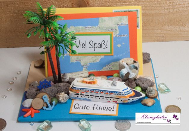 Tolles 3D Karte aufwendig und mit viel Liebe gestaltet für Geldgeschenke oder Gutschein mit einem Kreuzfahrtschiff, Insel, Palme, Möwen, Strand und Meer und anderen kleinen Details. Tolle Karte...