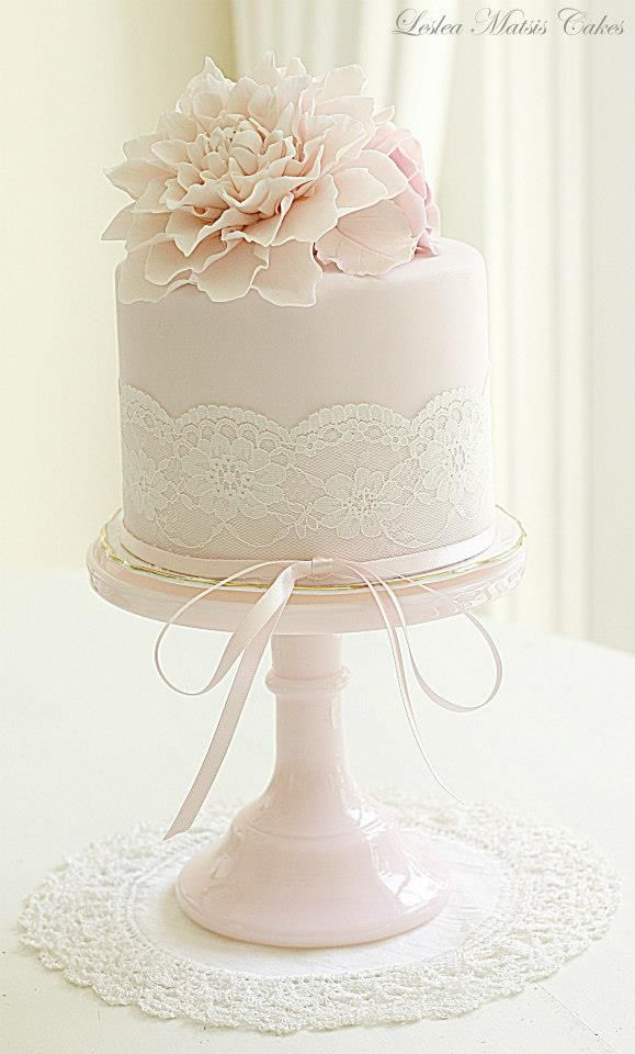 Gallery Pastel Pink Small Lace Wedding Cake With Sugar Flower Topper Deer Pearl Flowers