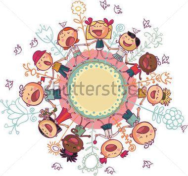 Les enfants du monde est dansant et chantant en cercle