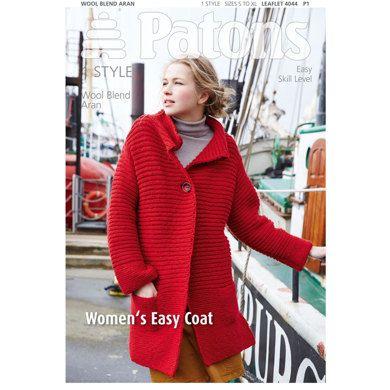 Women's Easy Coat in Patons Wool Blend Aran - 4044