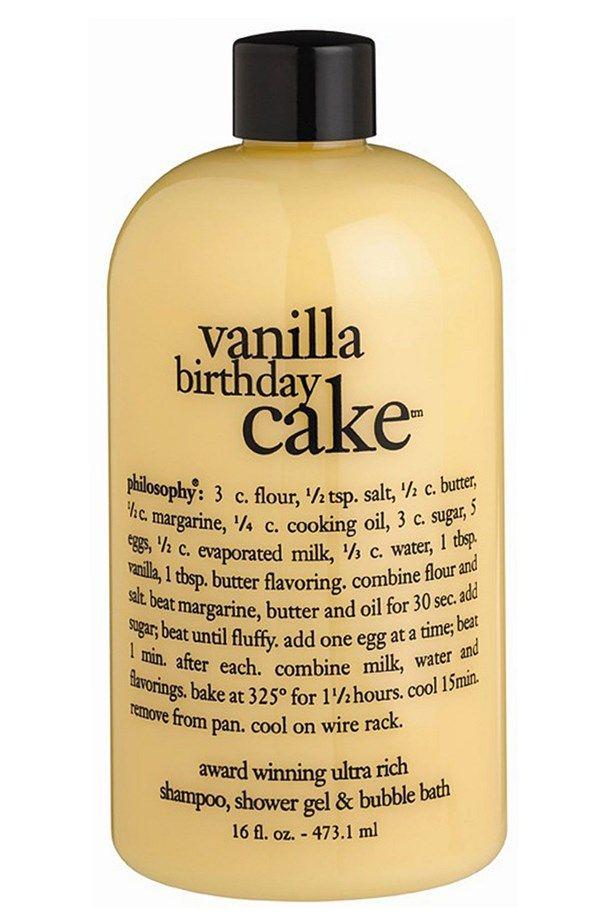 Yummy vanilla birthday cake shampoo, gel & bubble bath   Philosophy.