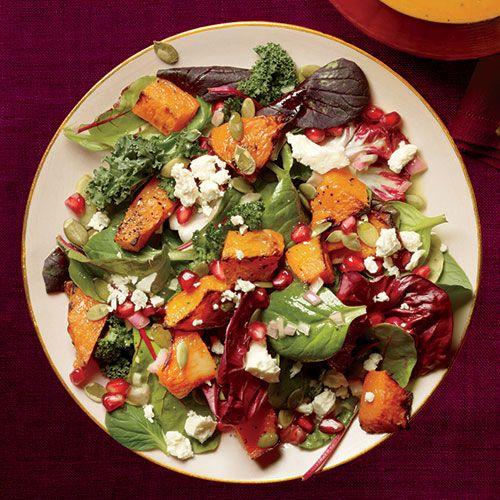 Roasted Pumpkin and Pomegranate Salad and 20 Healthy Pumpkin Recipes - MyNaturalFamily.com #pumpkin #recipes