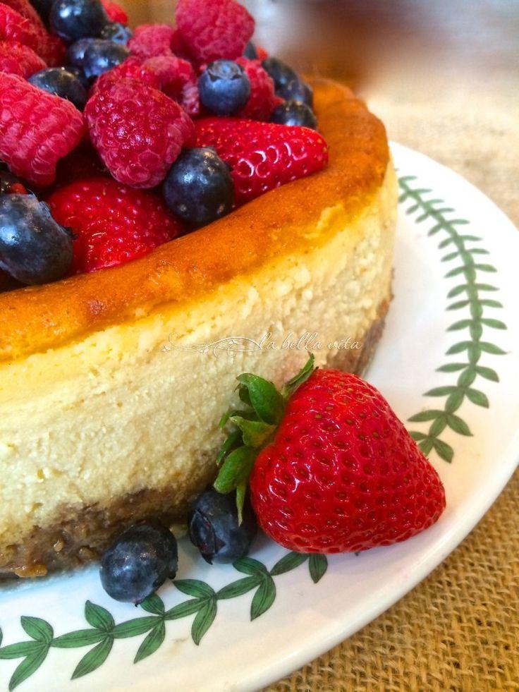 Italian Mascarpone and Ricotta Cheesecake with Raspberry Almond Crust - La Bella Vita Cucina