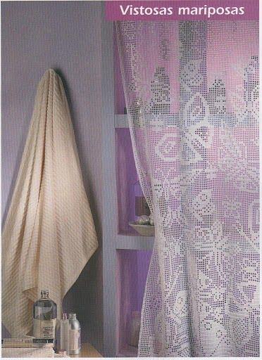 Butterfly curtain, filet work with diagram