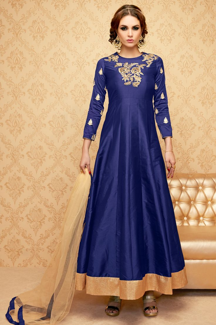 Navy Blue Stylish Eid Special Party Wear Anarkali Suit With Embroidary Work 103