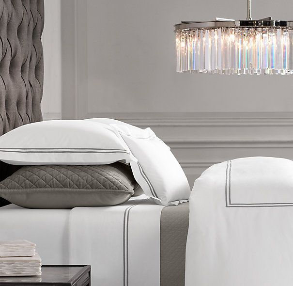 Dream bedding! Italian Hotel Satin Stitch Bedding White Collection in stone or navy from Restoration Hardware