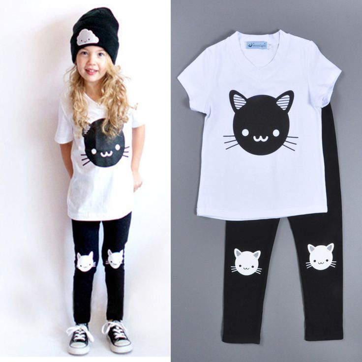 Bobo choses girls clothing sets cartoon baby boys girls clothes Cat Printed T-shirt + pants black Kids baby boys clothing sets
