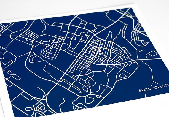 State College Map Art City Print Grad Gift / Penn by jennasuemaps, $18.00