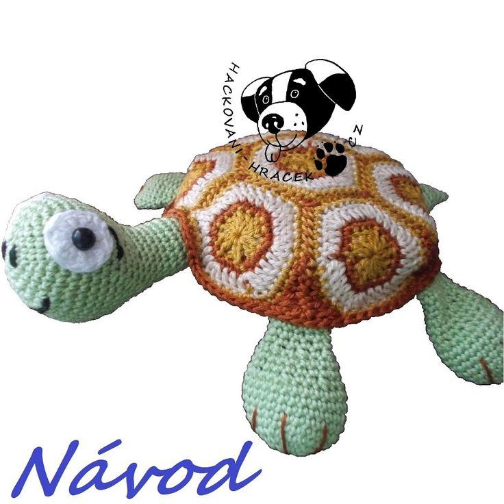 Želva vodní - návod na háčkování________________#želva#turtle#vodní#water#koritnačka#háčkovaná#hračka#návod#PDF#pattern#crochet