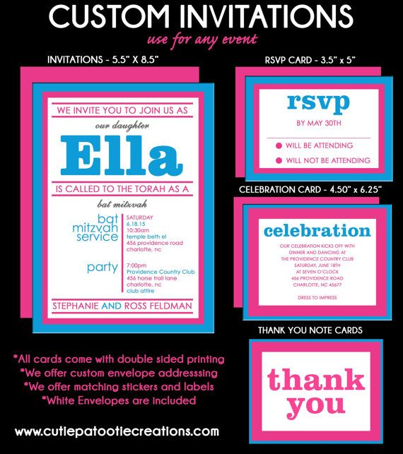 Planning a Bat Mitzvah in Hot Pink? Our simple but classy affordable Hot Pink Bat Mitzvah Invitations can be customized for your next celebration. Add matching party add ons such as RSVP Reply Cards, Information Card, Celebration Card, Thank You Note Cards, Custom Designed Party Logo, Address Labels, Stickers, Menu, Table Escort Cards, Party Favors and so much more!  Please read this entire description for clarification of our product offerings! We do custom orders! Contact us if you would…