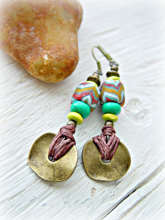 African Earrings  African Jewelry  Hippie by HandcraftedYoga: