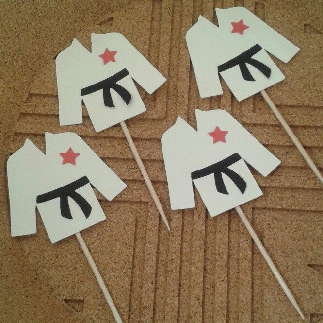 Black belt karate cupcake toppers are packaged and ready to ship. This was the first order with black belts and they turned out amazing!