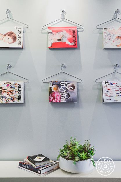 Creative way to store magazines! Great for an office space / inspiration wall.