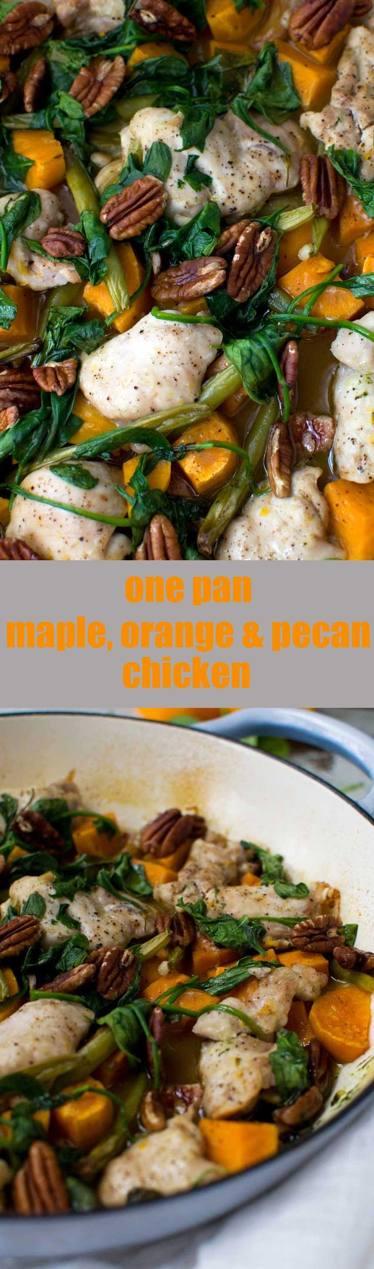 One pan maple, orange and pecan chicken