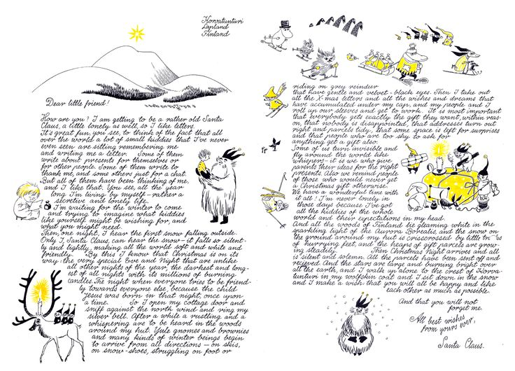"Tove Jansson ""Christmas Letter"" 1963 all rights: Moomin Characters https://interactive.sanoma.fi/arkku/files/24182701ToveJanssonKorvatunturiLetterOriginal1.jpg"