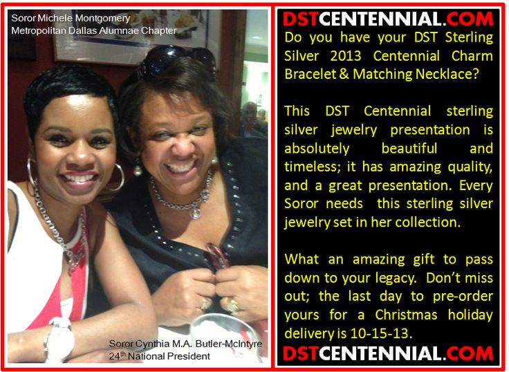 Sorors! Dr. Cynthia M. A. Butler-McIntyre the 24th National President of Delta Sigma Theta and Soror Michele Montgomery both look DevaSTatingly beautiful in their DST Centennial Collection Charm set! #DST #DeltaSigmaTheta #Redalert   DONT WAIT!!! Get YOURS today BEFORE the pre-order period ends-- October 15th.   Visit: https://www.dstcentennial.com/shop/index.php?p=catalog&parent=7&pg=1
