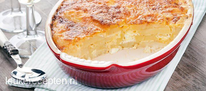 Snelle en lekkere aardappelgratin op smaak gebracht met knoflook en tijm met een…