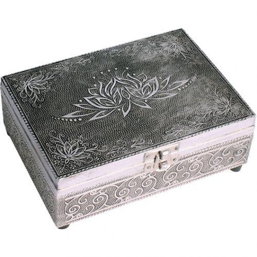 Embossed Silver Finish Wood Lotus Tarot Box Felt Lining 7x5 inch (18x13cm)