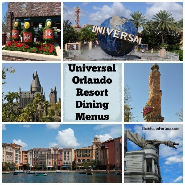 Universal Orlando Dining Menus With