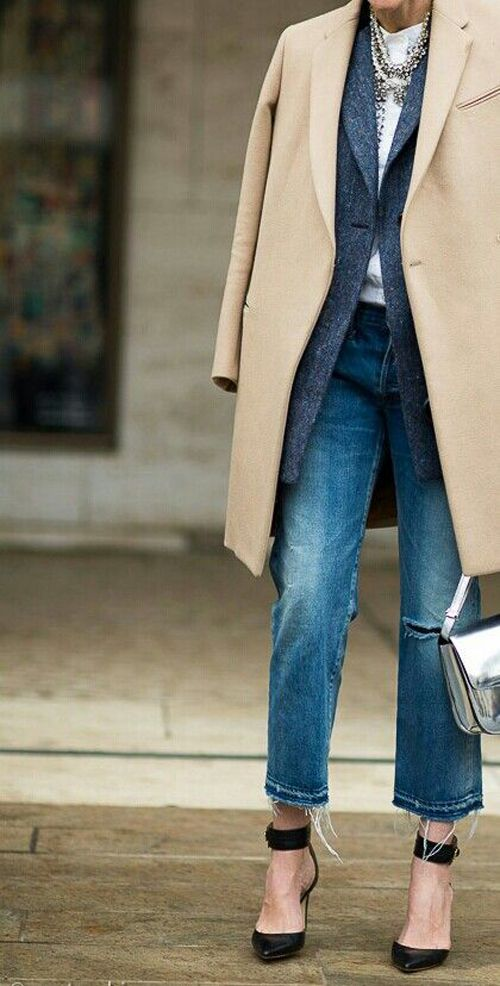 camel coat layered over a blazer with denim & heels #style #fashion #streetstyle
