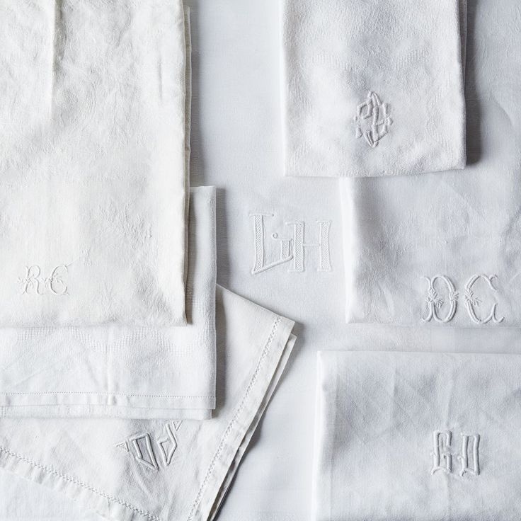 Vintage White Monogrammed French Napkins on Food52