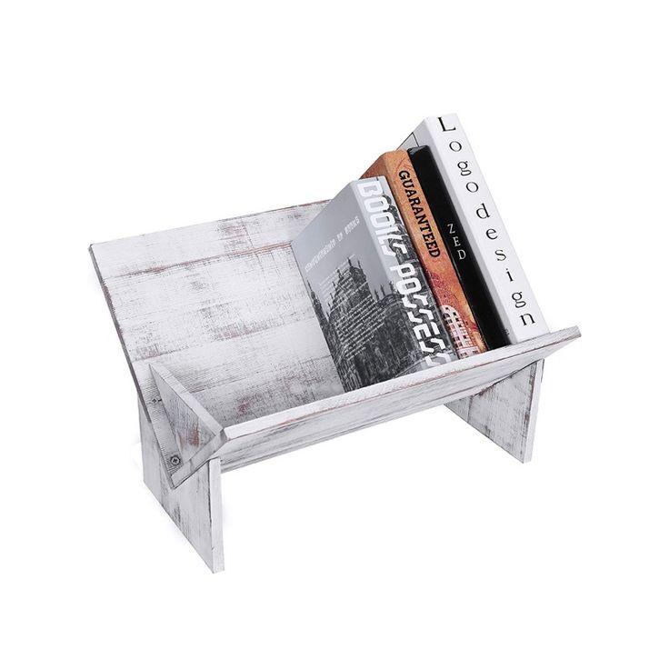 $ 32.99 – Estantería de escritorio inclinada de madera rústica vintage blanqueada   – Amazon Home Decor