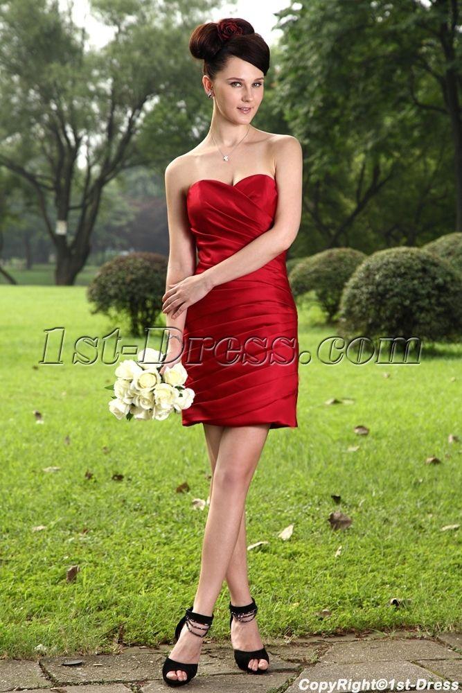Cheap Burgundy Short Bridesmaid Dress IMG_1040:1st-dress.com