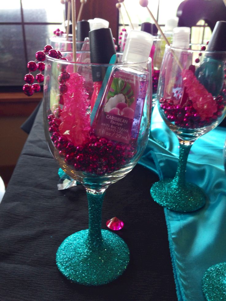 Great idea for Bachelorette party favors. DIY. Wine glasses with Turquoise glitter. Survival kits