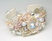 Bridal Cuff Bracelet- Wedding Statement Bracelet-  Pearl Bracelet-  Bridal Jewelry- Blush accessories- Blush bracelet Wedding cuff bracelet