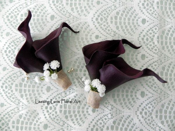 Real Touch Eggplant Calla Lily Corsages, Country Wedding Corsages, Mother Corsages, Real Touch Calla Lily Corsages by LastingLoveFloralArt on Etsy