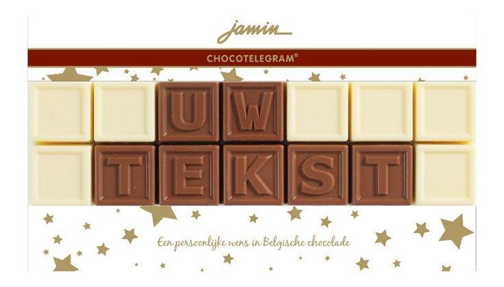 Jamin chocotelegram feest 2 regels: jouw tekst  Description: Stuur je persoonlijke boodschap in heerlijke chocolade! Natuurlijk met een gratis wenskaartje. Voor levering volgende werkdag uiterlijk voor 17.00 uur bestellen. Ook bedrijfslogo's zijn mogelijk!  Price: 10.00  Meer informatie  #Jamin