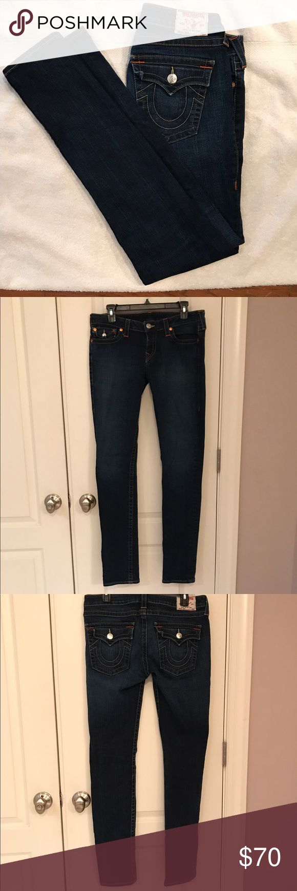 "TRUE RELIGION ""JULIE"" WOMENS DARK WASH JEANS Authentic True Religion ""JULIE"" Skinny dark wash Mid-Rise. Jeans are in excellent pre-owned condition/no rips, clean and smoke free household. True Religion Jeans Skinny"