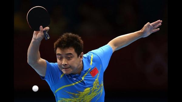 : Wang Hao of China plays a shot during Men's Singles Table Tennis Gold medal match against Zhang Jike of China on Day 6 of the London 2012 Olympic Games at ExCeL on August 2, 2012 in London, England. (Photo by Feng Li/Getty Images)