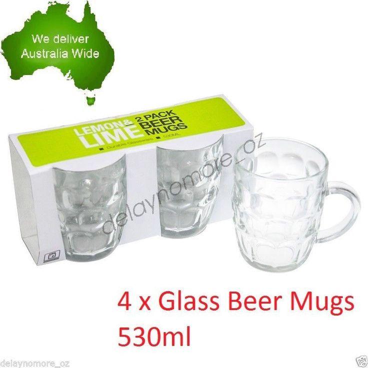 4 x 530ml Glass Beer Mug w/Handle Tankard Vodka Whiskey Wine Bar Mugs Party VIC in Home & Garden, Kitchen, Dining, Bar, Glassware | eBay!