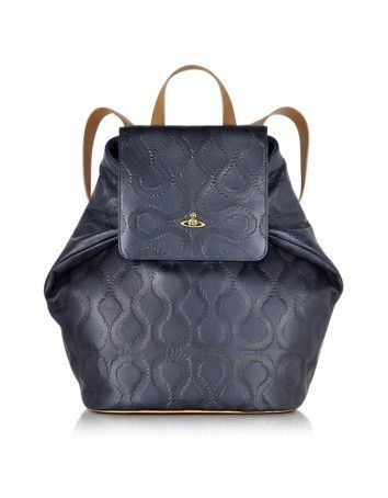 SQUIGGLE DARK BLUE LEATHER BACKPACK VIVIENNE WESTWOOD