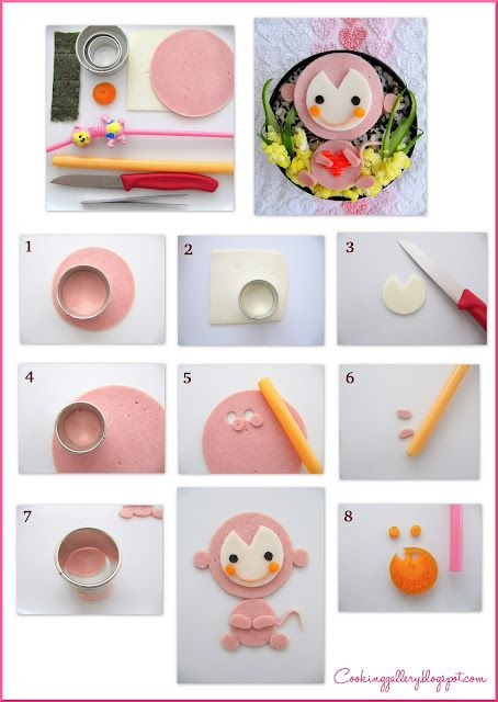 monkey figure tutorial ~ using sandwich cheese & bologna | from Cooking Gallery